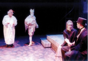 """Greenbrier Valley Theatre's 2001 production of """"A Christmas Carol"""" featuring Joe Buttram, Courtney Susman and Justin Wigglesworth (Photo courtesy Courtney Susman, Greenbrier Valley Theatre)"""