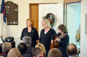 Monday, Dec. 7, at the funeral of Mabel Hedrick, held at Andrew Chapel in Williamsburg, music was provided by Lorena Judy from Williamsburg (left), Tina Hedrick from Williamsburg and Nila Lytle from Charmco. (Photo by Mark Robinson)