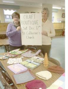 """""""We have been working all spring, summer and early fall on the various crafts which will be available at the sale,"""" explained  Kathryn Anderson of Lewisburg (right) president of the Altar and Rosary Society pictured with Kathleen Williamson of Ronceverte, immediate past president. St. Catherine's Annual Bake, Craft & Gift Sale is scheduled for Saturday, Dec. 12."""