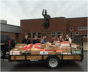 Trailer full of donated food, gathered by Greenbrier East students