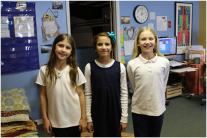 Olivia Bell, Second Place 4th Grade (left); Maxine Casto, First place 5th Grade and Indigo Graves Second place 5th grade