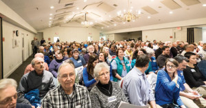 A capacity crowd of nearly 400 filled the Roland P. Sharp Alumni Building at WVSOM Monday night to attend the public hearing and second reading of Lewisburg's Nondiscrimination Ordinance 254 which passed unanimously after five hours of impassioned debate.