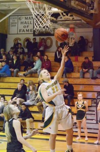Greenbrier East's Skylar Blevins drives for a layup in action against the James Monroe Mavericks Tuesday evening, Feb. 16, at the Spartans' gym. The Spartans won the game, 72-53. (Mark Robinson photo)