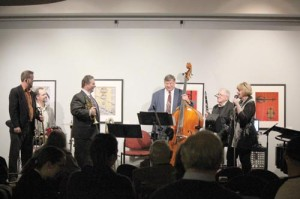 Brian Carr (left), Tim Pyne, Jeff Bryant, Jay Frye, Joe Buttram and Cathey Sawyer (Photo courtesy Greenbrier Valley Theatre)