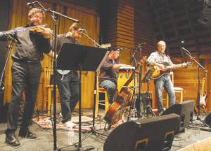 Songwriter and Monroe County native Clark Hansbarger (far right), joined by his band The Bitter Liberals, will perform in a multi-media Civil War show Dream of a Good Death at 7:30 p.m. on Saturday, Apr. 2, at the Ames Clair Hall in Union.