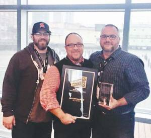 The Smooth Ambler Spirits team at the World Whiskies Awards competition after winning the world's best single barrel bourbon prize: distiller, Andrew Robinson (left), sales director, John Foster and co-owner and master distiller John Little.