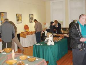 Some of the many visitors to first exhibit at Carnegie Hall in Lewisburg by West Virginia Woodturners, Inc.
