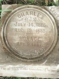 The recently unearthed headstone of Charles and Horace Leist