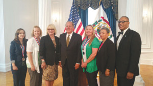 Pictured at the All-West Virginia Academic recognition ceremony at the State Capitol are: Alexandria Battaile (left), Joy Vance, First Lady Joanne Tomblin, Governor Earl Ray Tomblin, Mary Pomeroy, New River CTC Student Program Advisor Wanda Johnson and New River CTC President L. Marshall Washington. Madison Frame was unable to attend the event.