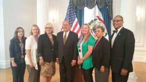 At the All-West Virginia Academic recognition ceremony at the State Capitol: Alexandria Battaile (left), Joy Vance, First Lady Joanne Tomblin, Governor Earl Ray Tomblin, Mary Pomeroy, New River CTC Student Program Advisor Wanda Johnson and New River CTC President L. Marshall Washington. (Madison Frame was unable to attend the event.)
