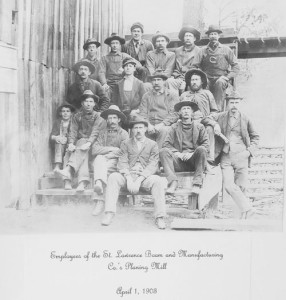 Photo of the employees of the St. Lawrence Boom and Manufacturing Company's Planing Mill, taken Apr. 1, 1908, which is one of the many images that line the walls of the Ronceverte Museum on Edgar Street in Ronceverte.