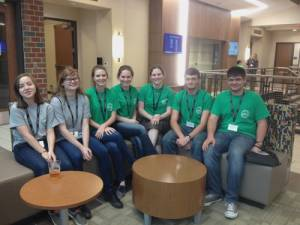 WV Bridge Design & Build completion participants from Greenbrier County Schools: Catalina Ziegler (left), Emily McElwain, Summer McElwain, Sarah Leslie, Erin Leslie,  Carlton Wykle and Jeremy Giese.