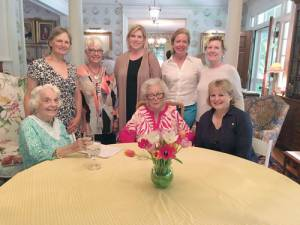 Lewisburg House And Garden Club begins the new year with six new members at their annual covered dish luncheon at Merry Hill: Standing: Margaret Schleiff (left), Dee Myers, Jeri Via, Mimi Deolloqui-Turner and Sharon Holladay; Seated: Associate Members Miriam Knight (since 1964) (leftz), Jeanne Hamilton (since 1975) and hostess for the event, and new member, Britt Ludwig.