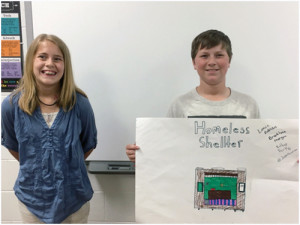Western Greenbrier students, Esther Parks and Lance Robinson pitch their mobile homeless shelter idea.