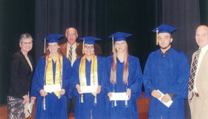 GWHS students: 2016 Stephen L. Baldwin Memorial Scholarship recipients from Greenbrier West High School: Kirstin Belcher (left), Sarah Brunty, Shae Amick and Jacob Winnings. Making the presentations were Sallie Dalton, former superintendent of Greenbrier County Schools (left), Tim Holbrook, executive director of the Greenbrier County Schools Foundation and Matt Baldwin, son of Stephen Baldwin (right).