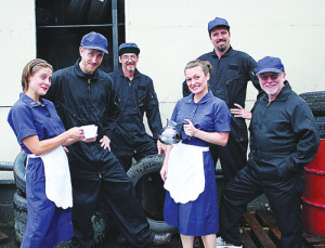 """From left:Kim Morgan Dean, Jake Williamson, Virgil Kelly, Melissa Robinette, Randy Goodson and Kermit Medsker in Greenbrier Valley Theatre's upcoming country musical """"Pump Boys and Dinettes."""" Photo courtesy of Greenbrier Valley Theatre"""