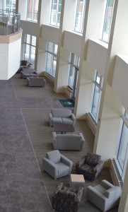 Aerial view of student study lounge