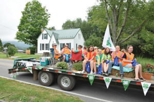 Williamsburg Flying Falcons, who had the First Place-winning float, in the Community Fair parade. Pictured: Abby Judy (left), Leah Wylie, Hanna Brown, Justice Wood, Madison Hedrick with Jill McClung, Laurie Hedrick and Danielle Brown seated.