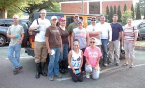 Students, faculty and staff at Dabney S. Lancaster Community College not only helped collect items for victims of the flooding in West Virginia earlier this summer, they also volunteered their services for two days to help clean up after the flood in nearby White Sulphur Springs. A group of volunteers gathered at the DSLCC parking lot in Clifton Forge, VA, for a group photo before setting out on June 30.