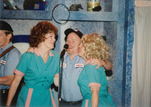 """Pump Boys and Dinettes,"" 1996, Greenbrier Valley Theatre. Barbara Wygal Lutz, Kermit Medsker* and Cathey Sawyer* (Photo by Gary Cooper / courtesy Greenbrier Valley Theatre)"