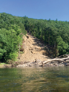 Huge slide near milepost 13 has closed the Greenbrier River Tail near Anthony (Photo by Margaret Hutchison)