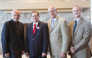 NBOME Board Chair Gary Slick, D.O., MA (left); WVSOM President Michael Adelman, D.O., D.P.M., J.D.; NBOME President and Chief Executive Officer John Gimpel, D.O., M.Ed., FACOFP, FAAFP; and WVSOM Student Government Association Vice President John Apgar