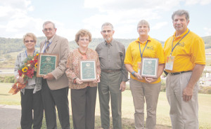 Carolyn (left) and Bill Canterbury of Monroe County take first place, Mollie and Raymond Yauger of Mason County take second place, and Raynette and Paul Mock of Morgan County take third place for 2016 West Virginia Conservation Farm of the Year.