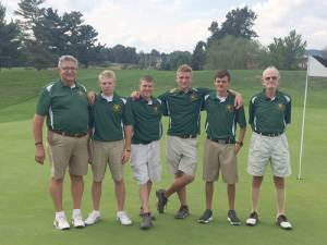 GEHS Gold Team: Coach Terry Koon (left), Colin Wiley, Dwain Sheppard, Jacobey Gore, Gavin Ray and Coach Mac Parks