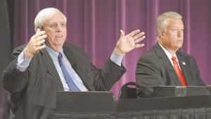 Democrat Jim Justice (left) and Republican Bill Cole face off in Tuesday's gubernatorial debate. (Photo courtesy of Rick Barbero, The Register-Herald of Beckley)
